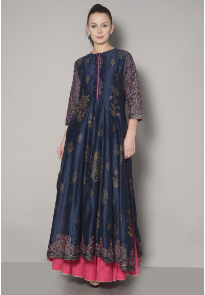 BLOCK PRINTED PANELED ANARKALI
