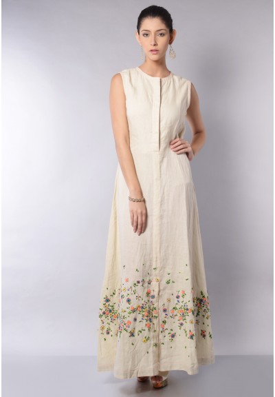 SLEEVLESS LINEN A-LINE DRESS