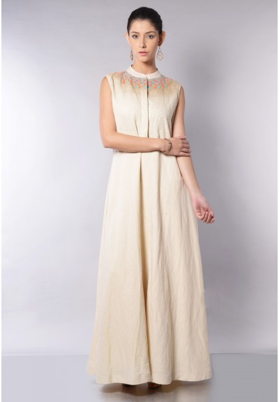 SLEEVLESS LINEN A-LINE BEADED DRESS