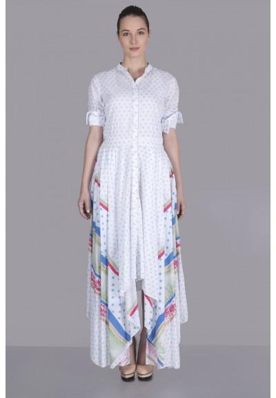 FRONT PLEAT & FLAP SHIRT DRESS