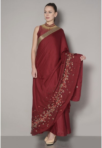 SLEEVLESS SHIRT DRESS SAREE