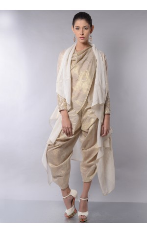DRAPED TOP AND PANT SHRUG SET