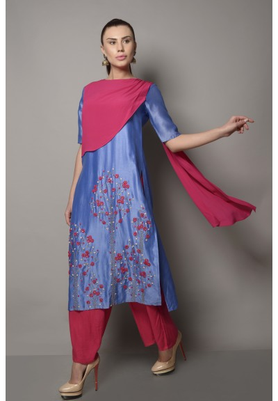 CHANDERI KURTA WITH DRAPED PANEL & PALAZZOS