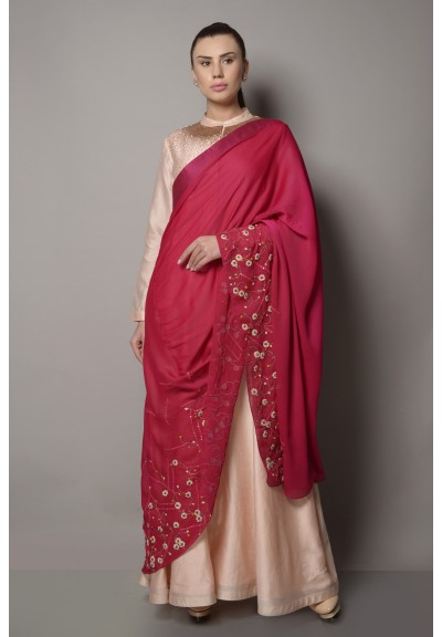 PINK CHANDERI ANARKALI WITH DRAPED DETAIL