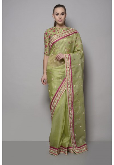 ORGANZA SILK FLORAL DORI EMBROIDERED SAREE WITH BLOUSE