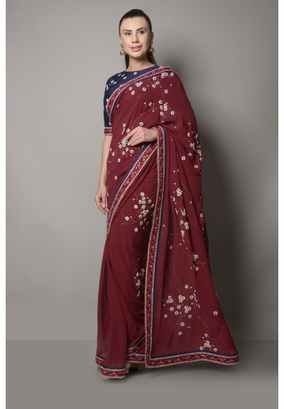 MAROON DORI AND STONEWORK EMBROIDERED SAREE
