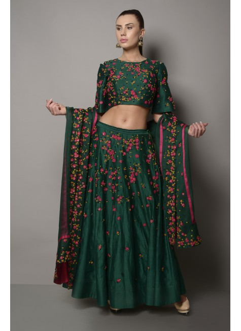 RAW SILK DORI EMBROIDERED LEHENGA SET