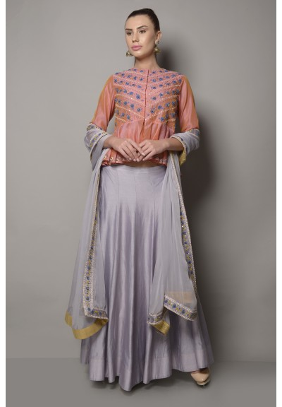 CHANDERI SILK DORI EMBROIDERED PEPLUM BLOUSE WITH LEHENGA
