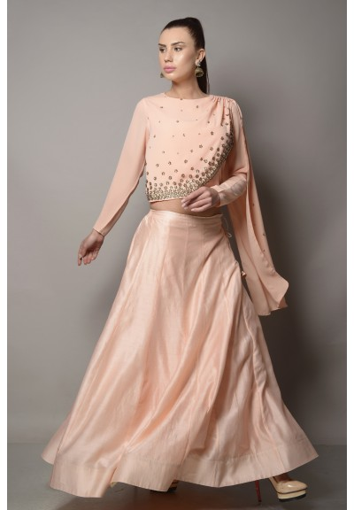 DRAPED BLOUSE WITH CHANDERI SILK & GEORGETTE LEHENGA