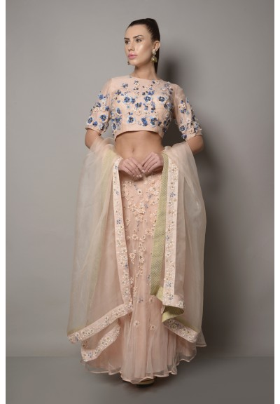 ORGANZA SEQUIN & DORI EMBROIDERED LEHENGA SET