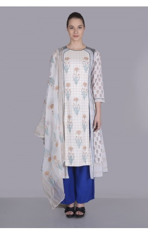 PANELED BLOCK PRINTED KURTA SET