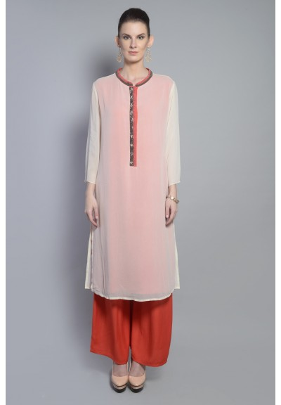 BEADED PLACKET LAYERED KURTA SET
