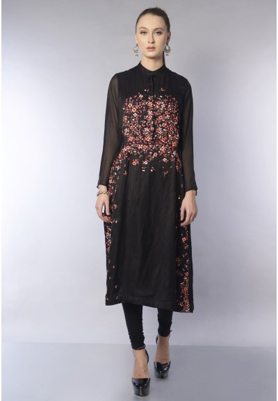 ORGANZA SIDE PANEL COLLAR KURTA SET