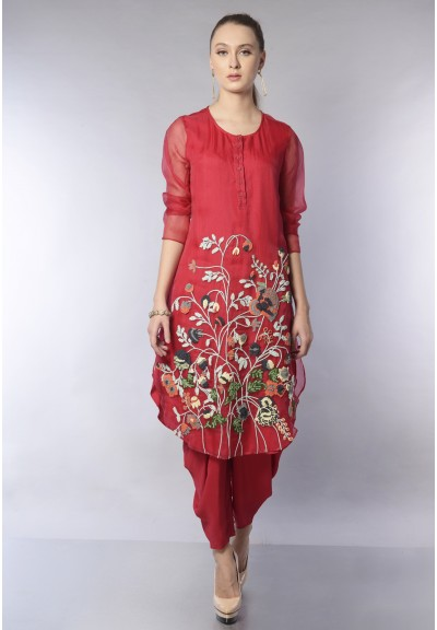 HEM EMBROIDERED ORGANZA KURTA SET