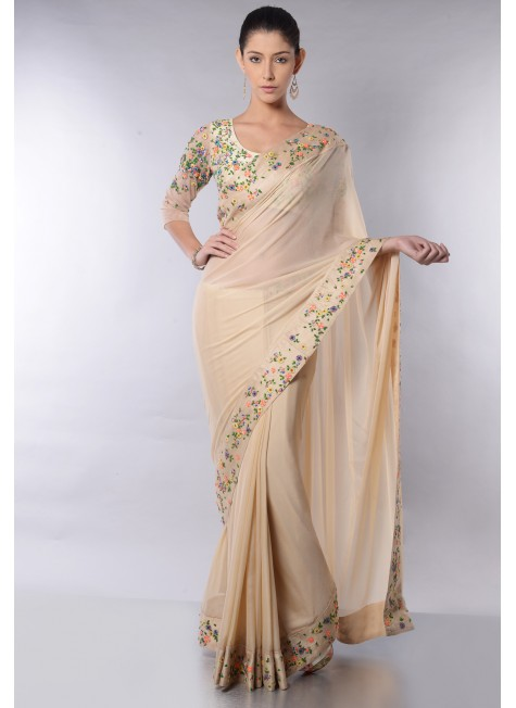 COLORFUL FLORAL BORDER SAREE