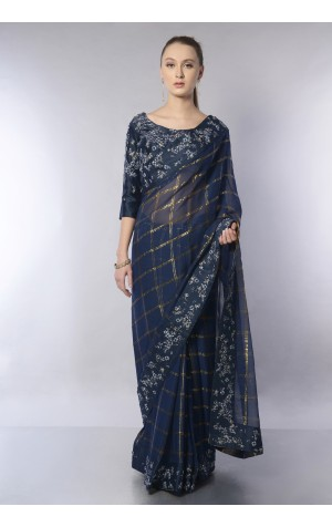 LUREX CHECK SAREE