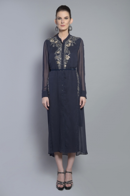 SIDE PANELED SHIRT DRESS
