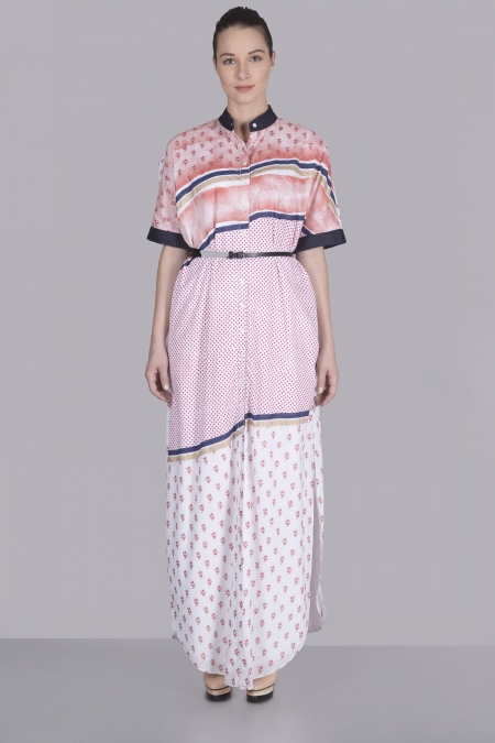 ABSTRACT STRIPE PRINT DRESS