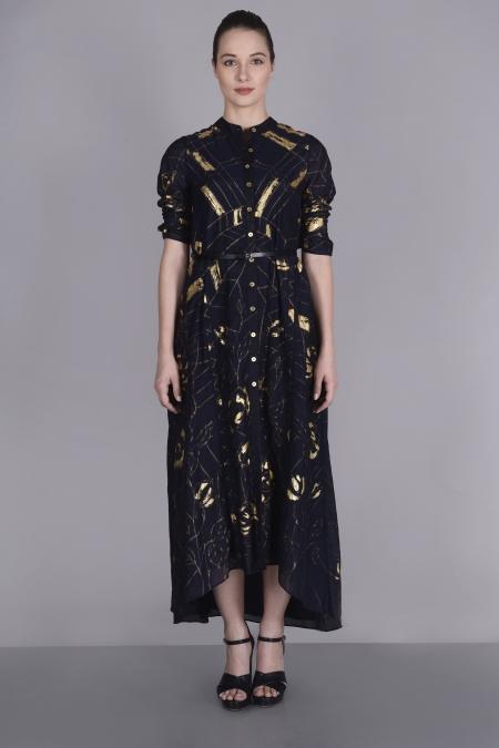SIDE PANEL FOIL PRINT DRESS