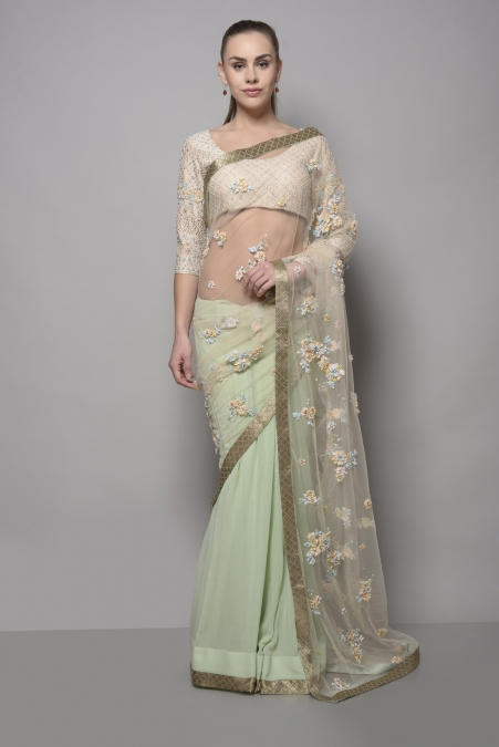 FLORAL EMBROIDERED NET SAREE WITH BLOUSE