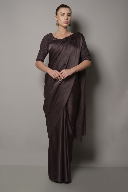 SATIN SILK SAREE WITH EMBROIDERED BLOUSE