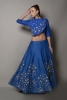 CHANDERI DORI EMBROIDERED DRAPED BLOUSE WITH FLARED SKIRT
